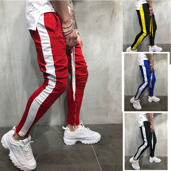 Hit Color Zip Stitching Narrow Ankel Pants