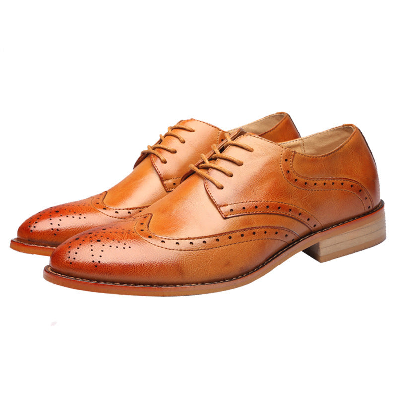 New Brock Carved British Pointed Leather Shoes