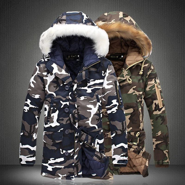 Men Winter Plus Size Thick Warm Coats Casual Long Parka Jacket