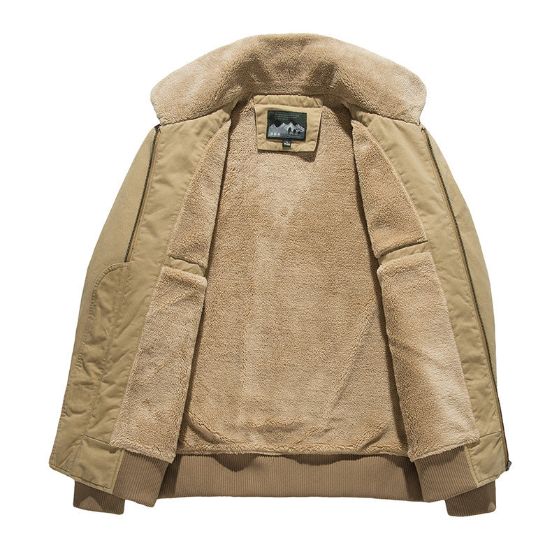 Casual Solid Color Thick Cotton Coat