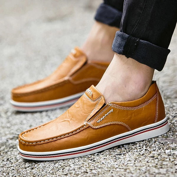 Men's Leather Casual Flat Slip-on Loafer Shoes