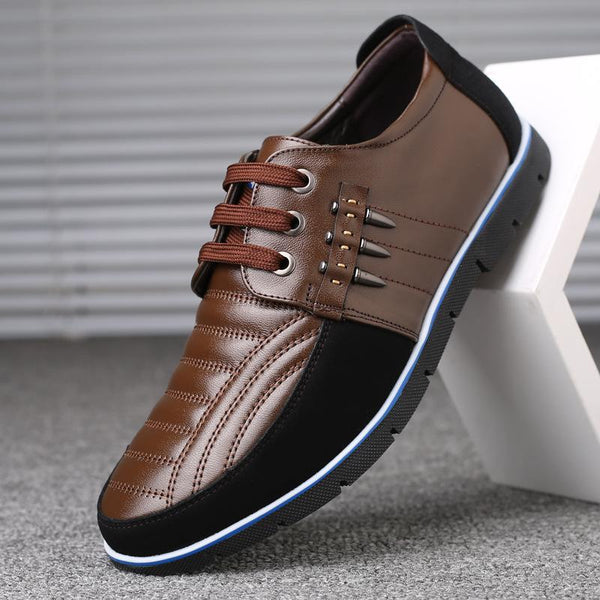 Men's Hollow Lace Up Casual Leather Shoes
