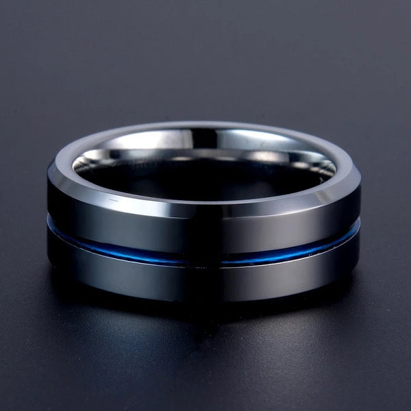 Simple Blue Grooved Titanium Steel Ring