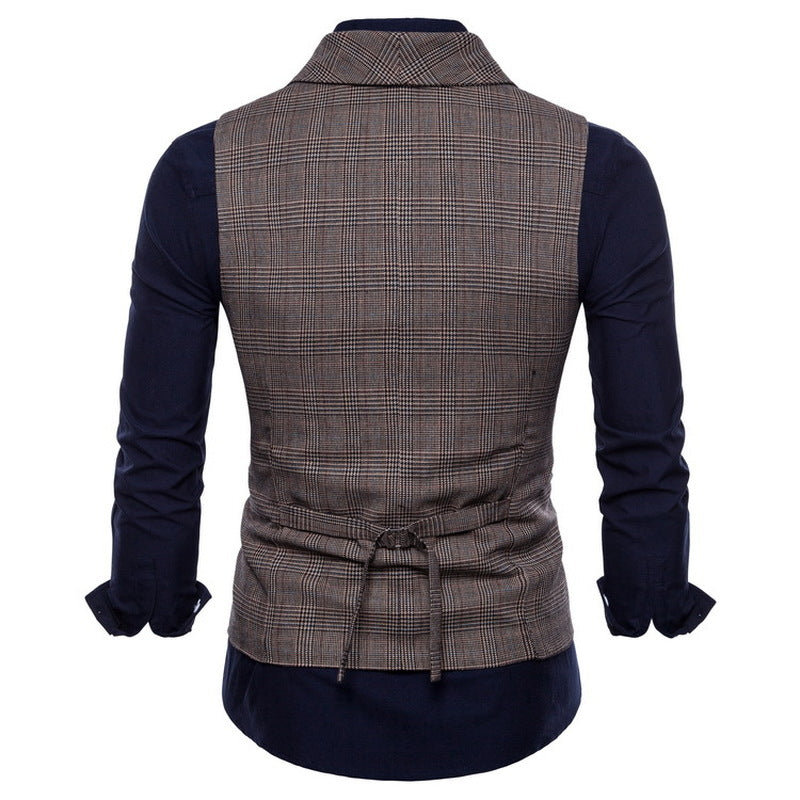 Fashion Casual Plaid Double-breasted Suit Vest