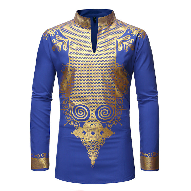 African Fashion Stand Collar Long Sleeve Color Block Print Men's Shirt