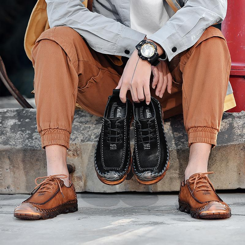 Hand-stitched Casual Low Top Leather Shoes