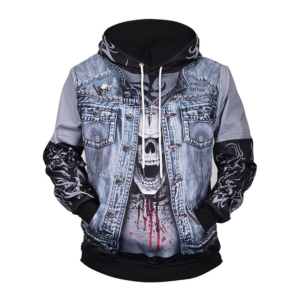 Denim Fake Two Skull 3D Printed Hooded Sweater