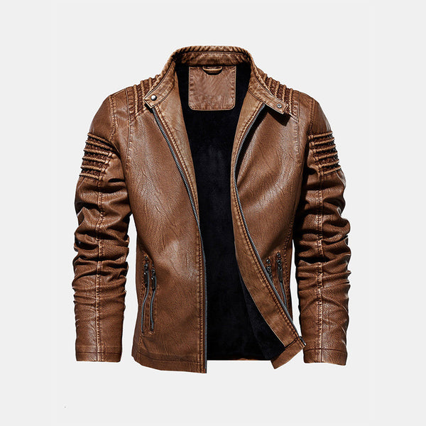 Leather Warm Fleece Lined Slim Fit Fashion Jackets