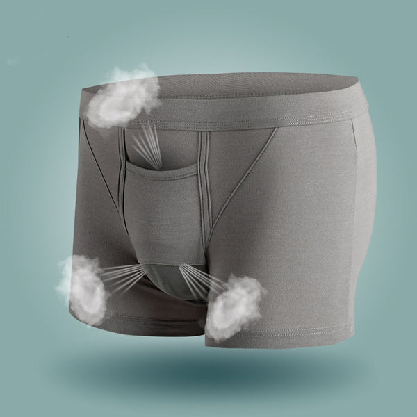 Solid Color Mid-rise Four-corner Breathable Boxer Briefs