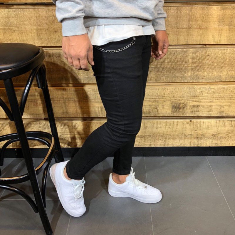 Solid Color Tight-fitting Casual Pants