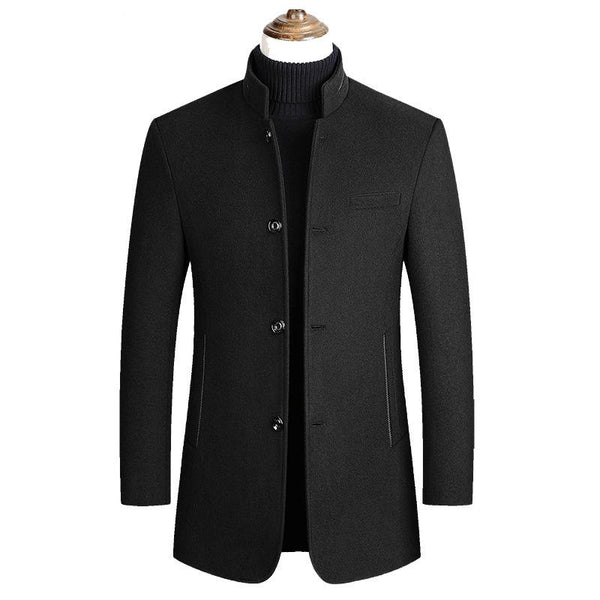 Mens Single-Breasted Woolen Thicken Warm Stand Collar Overcoats