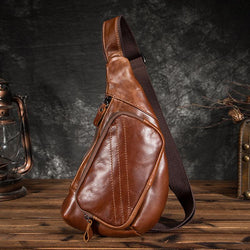 Genuine Leather Men Retro Shoulder Cross Body Bags