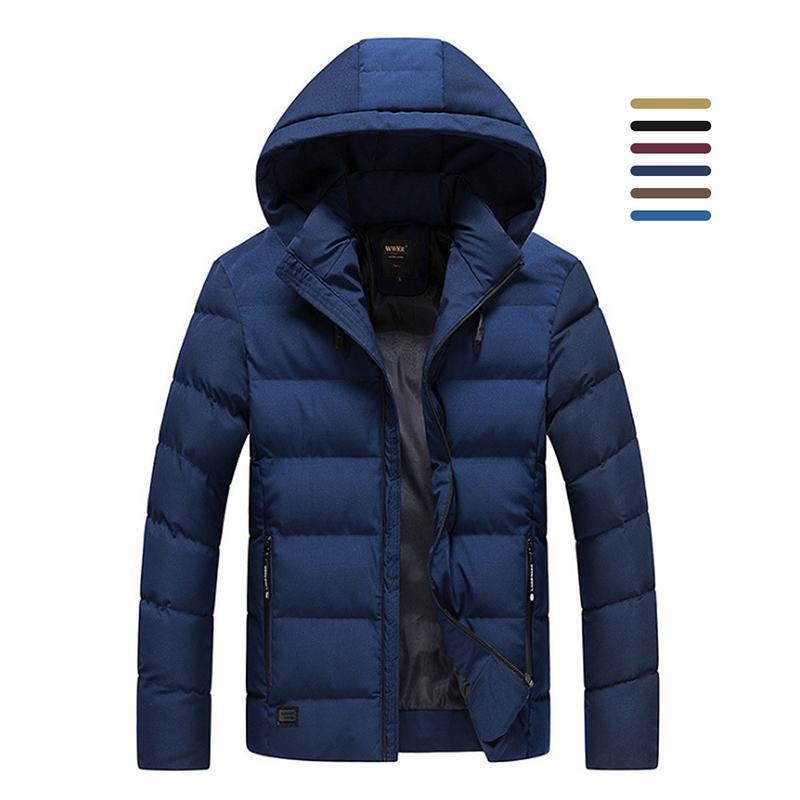 Solid Color Hooded Multicolor Winter Jacket