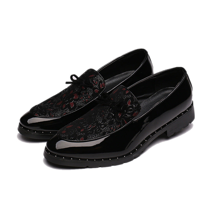 European and American Fashion Embroidered Leather loafers