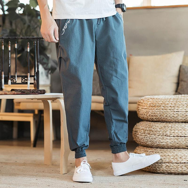 Plain Chinese Style Linen Embroidery Drawstring Harem Pants