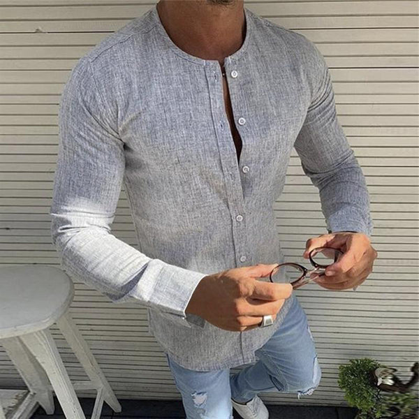 Round Neck Linen Solid Color Men's Shirt