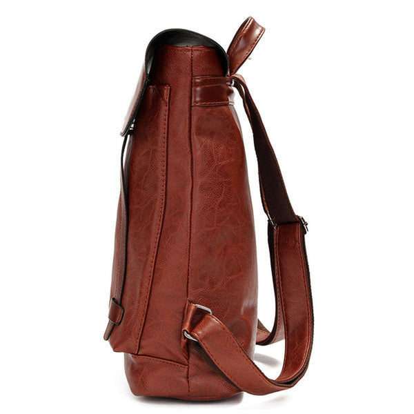 Vintage PU Leather Laptop Backpack