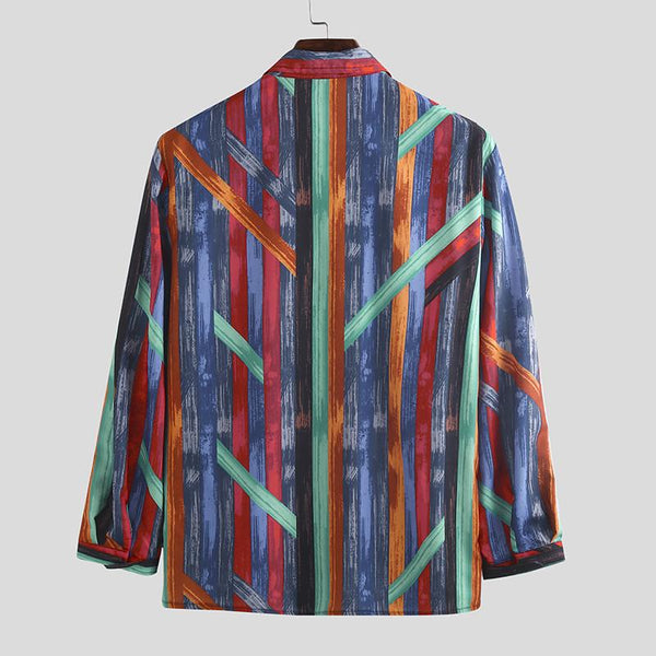 Fashion Colorful Long-sleeved Striped Shirt