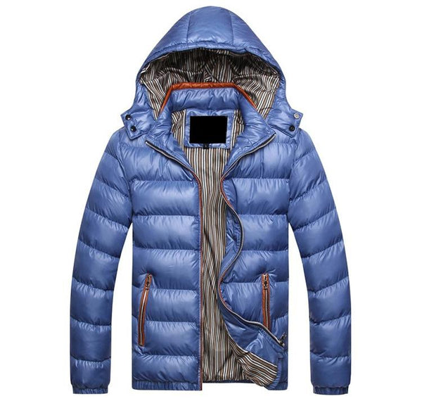 Winter Solid Thick Thermal Hooded Men's Jackets