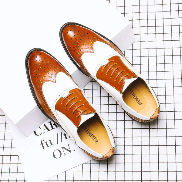 Pointed Toe Patchwork Formal Leather Shoes
