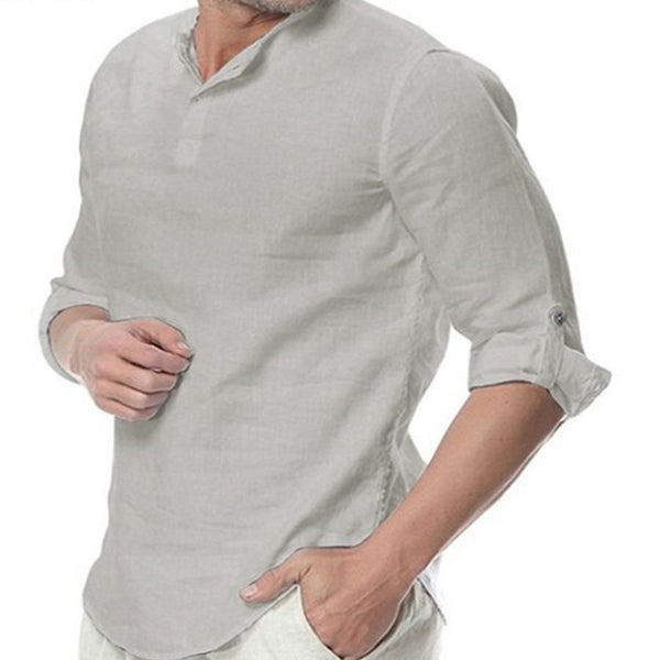Men's Casual Lapel Solid Color Long Sleeve Shirt