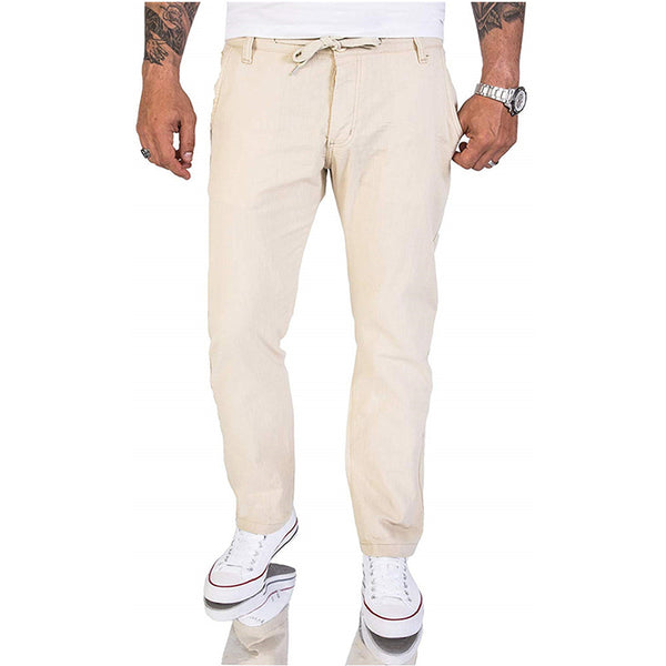 Men's Casual Classic Solid Color Linen Pants