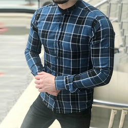 Plaid Casual Lapel Streetwear Men T Shirt