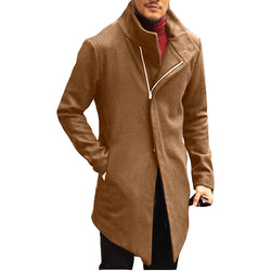 Lapel Zippered Slim Solid Color Men's Jacket