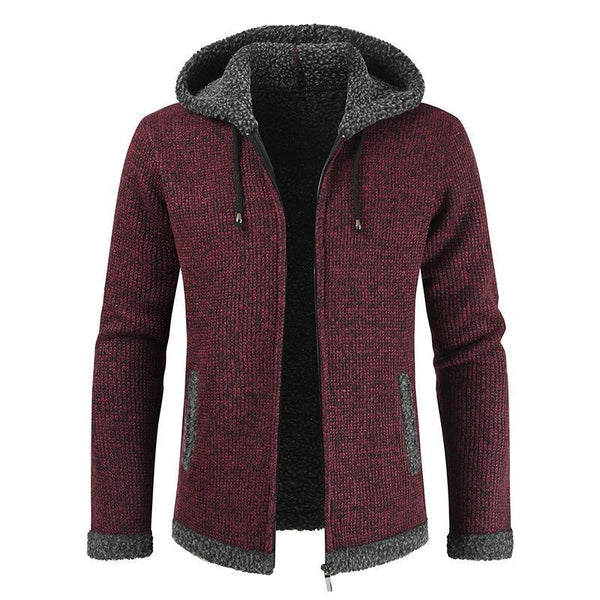 Mens Casual Hooded Sweater Coat