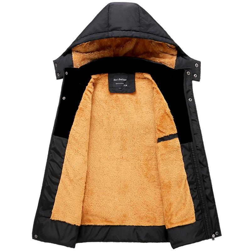 Stitching Hooded Plus Fleece Padded Coat