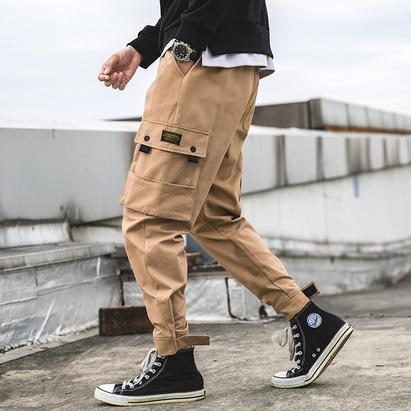 Plain Color Multi-Pocket Ankle-Length Pants