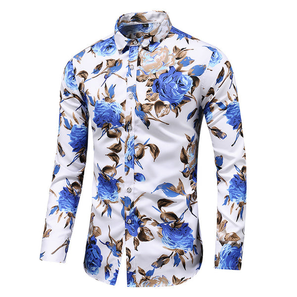 Men's Print Slim Long Sleeve Shirt