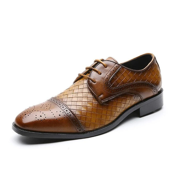 Men's Business Leather Weave Pattern Casual Shoes