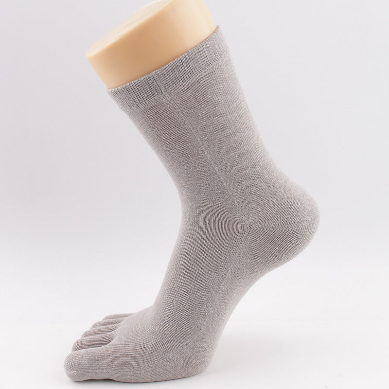 Cotton Breathable Casual Plain Five-toed Socks