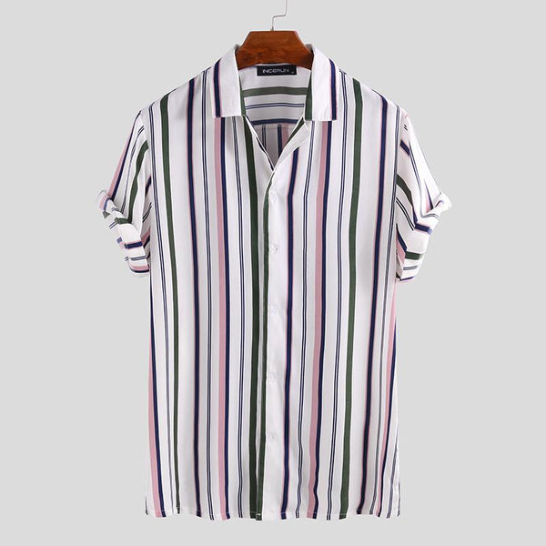 Fashionable Striped Lapel Breathable Short Sleeve Shirt