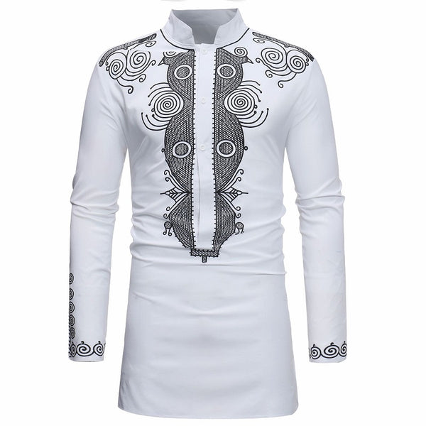 African Fashion Ethnic Printed Shirt Medium Length Stand Up Collar Men's Shirt