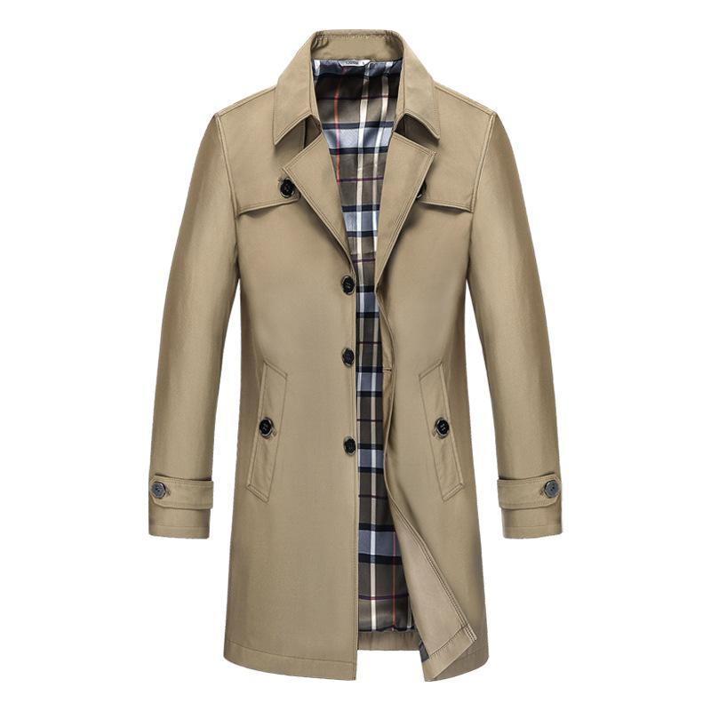 Men's Business Casual Long Trench Coat