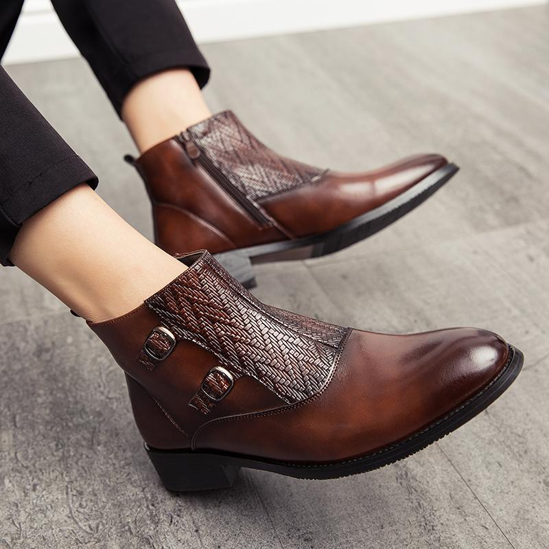 Italian Retro Pointed PU Leather Boots