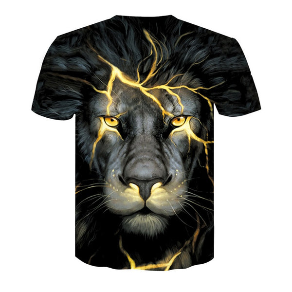 Personality Lion Digital Print Short Sleeve