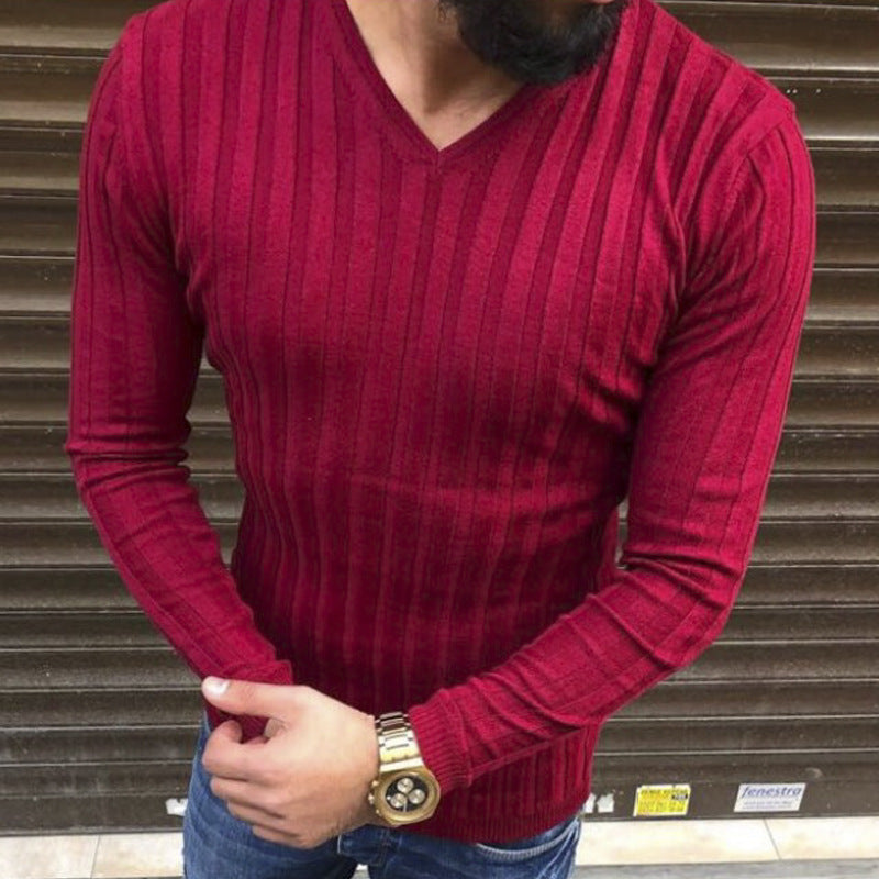V-neck Long-sleeved Pure Color Men's T-shirt