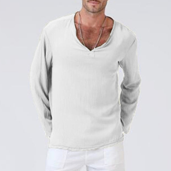 Solid Color Long Sleeve V-neck Men's T-shirt