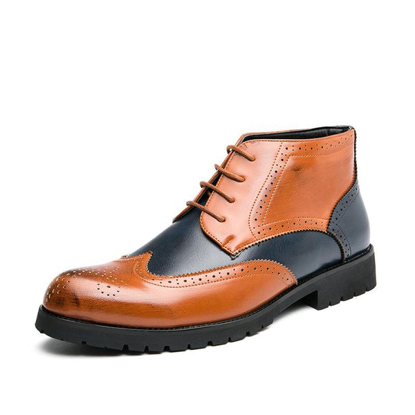 Men's British Style Stitching Color Casual Ankle Boots