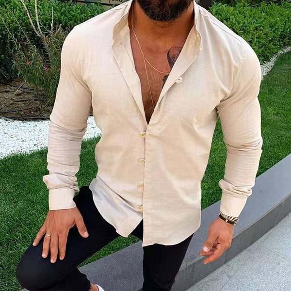 Solid Color Long Sleeve Stand Collar Casual Shirt