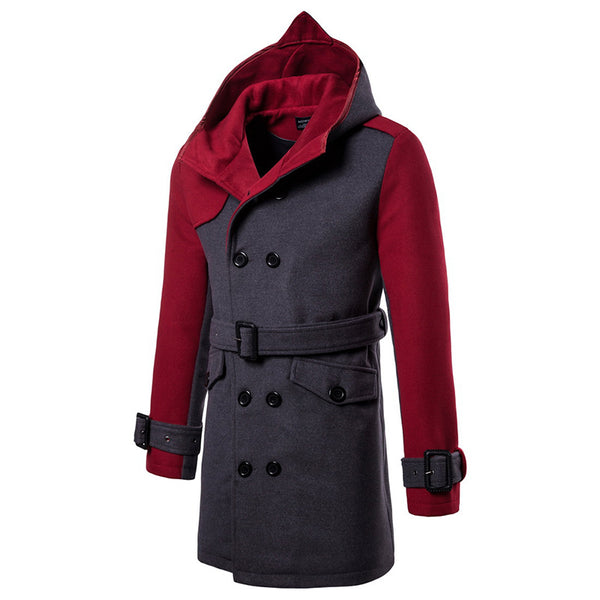 Stylish Double-breasted Hooded Woolen Coat