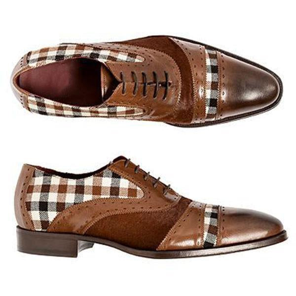 Plaid Brown Patchwork Formal Shoes