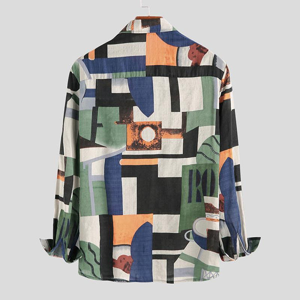 Retro Long Sleeve Lapel Casual Shirt