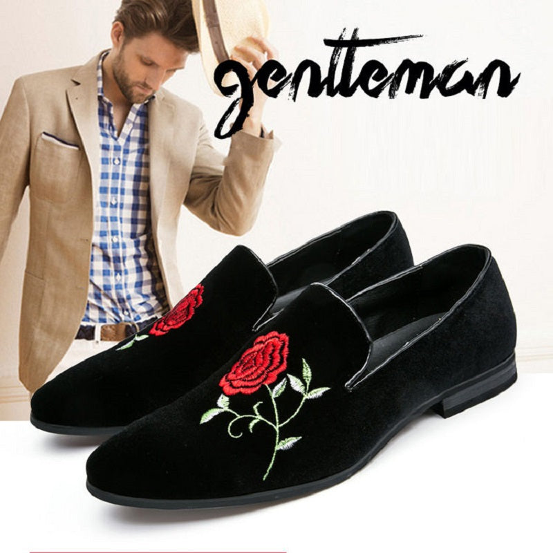 Suede Leather Embroidery Loafer Shoes