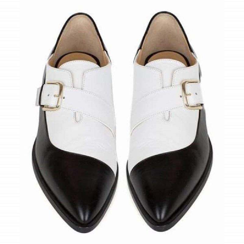 New Black and White Color Matching Leather Shoes