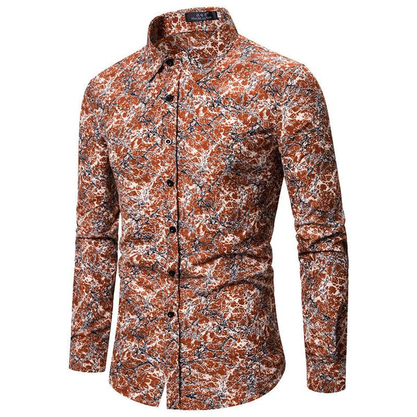 Cotton and Linen Floral Long-sleeved Shirt
