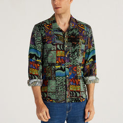 Vintage Beach Casual Printed Lapel Shirt